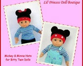 Doll Clothes Made To Fit Bitty Twin Boy-Girl, Crochet Mickey and Minnie Style Hats, 15 Inch