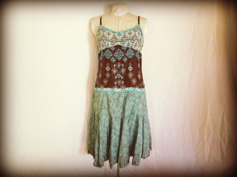 Reserved for Megan - Blue Damask Upcycled Slip Dress// 1940's Flair Flapper Style Dress// Medium // Blue Brown