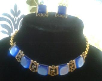 Vintage Set Cobalt Blue Royal Blue Choker Necklace Set With Earrings
