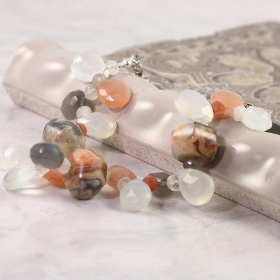 Moonstone Bracelet Gray White Peach Agate Gemstone Celestial Jewelry Mothers Day for Mom Beaded Bracelet