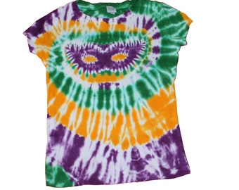 Tie Dye Shirt with Mardi Gras Colors and a Mardi Gras Mask- girls and womens sizes available