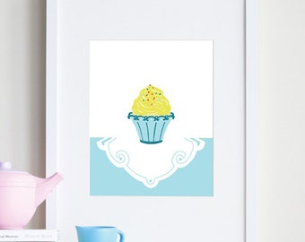 Sprinkles cupcake decor, 8 x 10 art print for girls - different colors and sizes available