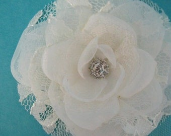 Bridal Hair Flower,  Ivory Lace, Organza and Tulle Rose Hair Clip K263, bridal hair accessory