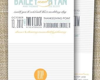 custom wedding invitation with perforated rsvp postcard - love struck.