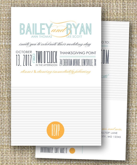 Custom Wedding Invitation With Perforated Rsvp Postcard Love