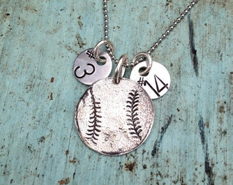 Sterling Silver Baseball Softball Necklace with Hand Stamped Numbers  ***SALE***