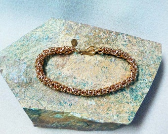 Solid Copper Byzantine Weave Bracelet 8 1/4 Inches in Length