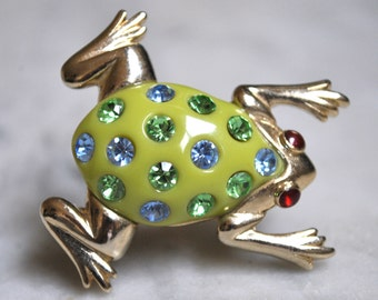 Adorable Retro Frog Pin with Green and Blue Rhinestones - SALE