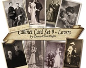 Cabinet Card Set 9 - LOVERS - 8 Printable Digital Images INSTANT Download for altered, collage, steampunk, art, cards, ACEO - Jpg