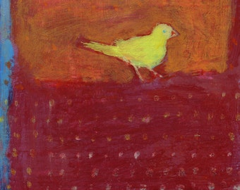 Small Yellow Bird with Dots - original art, original small painting by Irene Stapleford - one of a kind