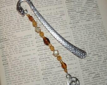 Golden Dragon  - Glass Beaded Metal Bookmark