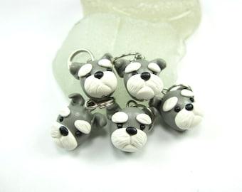 Schnauzer Stitch markers -set of 5- polymer clay dog knit knitting