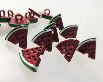 Watermelon Wedges Buttons by Buttons Galore