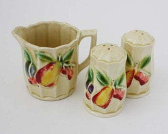 Vintage Creamer with Matching Salt and Pepper Shakers
