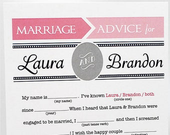 Wedding Advice Cards // Bridal Shower Advice Cards // PDF FILE Print Yourself Colors, Names are Customizable