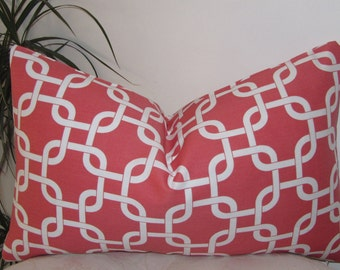 "Chain Link Coral/White Lumbar Pillow Cover - Decor Pillow Cover - 12""x20"", 12""x18"", 18""x18"", 20""x20"" or 22""x22"""