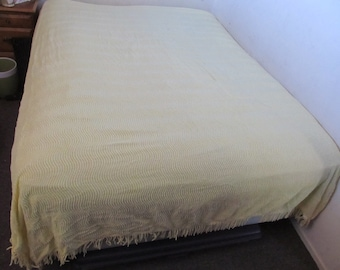 vintage CHENILLE BEDSPREAD  --soft yellow, chenille striped--  twin (possibly full) size