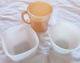 vintage COFFEE & TEA CUPS --Glassbake, Pyrex -- three piece collection of Glassbake, Pyrex