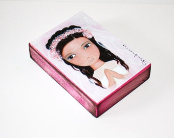 First Communion Girl - ACEO Giclee print mounted on Wood (2.5 x 3.5 inches) Folk Art  by FLOR LARIOS
