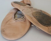 Vintage Pink Blush Leather Ballet Slippers Womens Ballerina Vintage Dance Costume