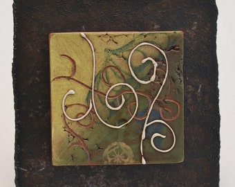 SALE - Ceramic Tile Wall Plaque (yellow and green) - Meagan Chaney Gumpert (08-15)