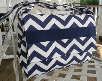 Diaper Bag Messenger Style in  Navy Blue and White Chevron