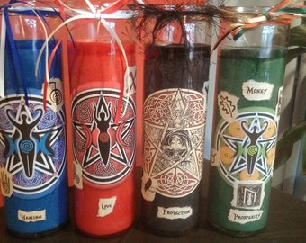SET of 4 INTENT Wicca Witch Pagan Altar Magick SPELLWORK Ritual Candle Healing Love Protection Money