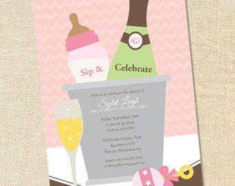 Sweet Wishes Pink Sip and Celebrate Baby Shower Invitations - PRINTED - Digital File Also Available