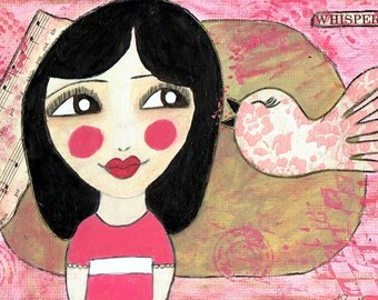 A Little Birdy Told Me - Big Eyes Art - Reproduction of Original Art Work by Jessi Designs