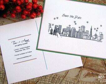 Bordered Save the Date Wedding - (100) City Skyline Postcards -  (4 x 5.25)