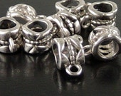 REDUCED Bead Spacer 24 Bail Antique Silver Nickel Color Tube Barrel 11.5mm x 8mm Large Hole 5mm NF (1058spa11s2)xz