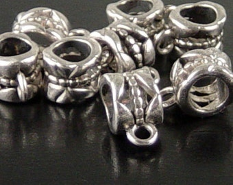 Bead Spacer 24 Bail Antique Silver Nickel Color Tube Barrel 11.5mm x 8mm Large Hole 5mm NF (1058spa11s2)xz