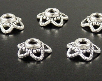 Silver Bead Cap 50 Antique Silver Flower Filigree Victorian Star 5-point 11mm x 4.5mm 2.5mm hole NF (1125cap11s1)xz