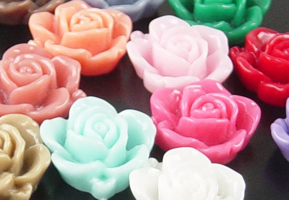 Cabochon Flower 20 Resin Round Rose Flower Opaque 15mm  CHOOSE from 17 COLORS CHOICES (1013cab15m1)