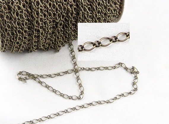 Bronze Chain 3 Meters Chain Antique Bronze Twisted Unsoldered 6mm x 3.5mm 22g (1018cha06z1) ... last remaining packages