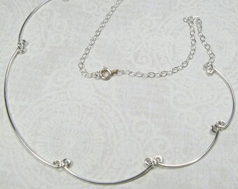RONDURE NECKLACE, sterling silver scallops necklace