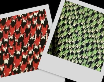 HOUNDSTOOTH gorgeous print ultra soft poly lycra stretch fabric red green BTY, 2 colors