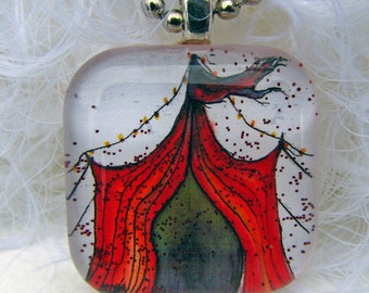 Carnival in Crimson, Glass Tile,  Art Pendant and Necklace with GLITZ.