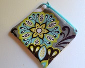 Turquoise Brown Lime Green Flower Print Change Purse Coin Bag