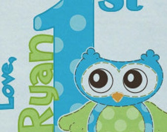 Happy First 1st Father's Day Onsie LOVE w/ Babies Name Cheerful Owl  Version Custom PERSONALIZED w/ Name Great Baby Gift for NEW Daddy
