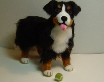 Custom dog Pet Portrait miniature needle felted customized dog soft sculpture