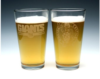 Engraved Sports Pint Pub Glass.