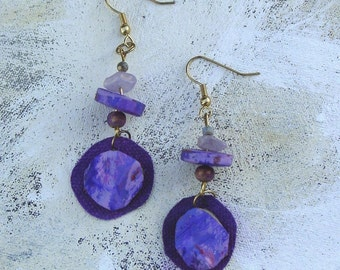 purple dangle earrings upcycled palette in summer colors
