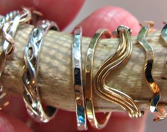Stacking,  knuckle, midi forefinger ring single your choice of style in 14K yellow gold filled, 14K rose gold filled or sterling silver