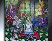 Wonderland With Alice Doll  Rabbit Surrounded By Flowers And Quotes Original Painting 25x25