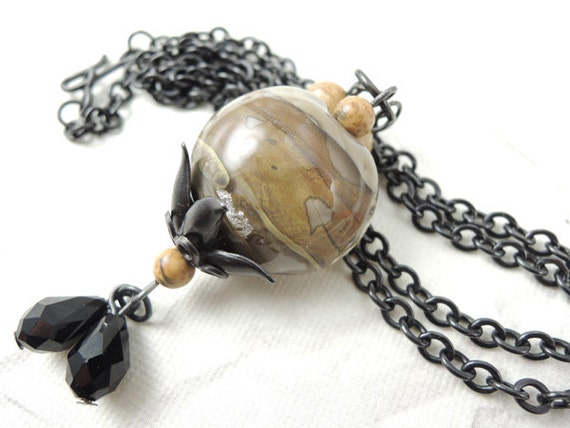 Dessert Sands Lampwork bead pendant, long arte metal chain necklace