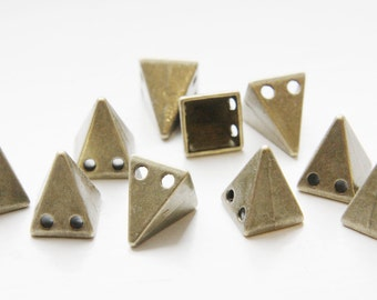 10pcs Antique Brass Tone Base Metal Spacers-Conical or Spikes- Two Holes 15x12mm (19618Y-D-410)