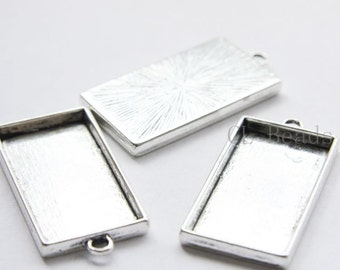 4pcs Oxidized Silver Tone Base Metal Bezel Pendant-Rectangle 48x24x4mm (13370Y-P-232A)
