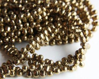 100pcs Czech Glass Tear Drops-Bronze 6x4mm (6490215) (B-14-18)