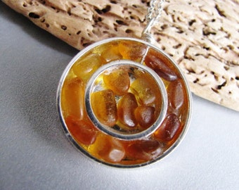 Amber Sea Glass  - Silver Circles - Sea Glass Necklace - Unique jewelry - Beach Glass Jewelry